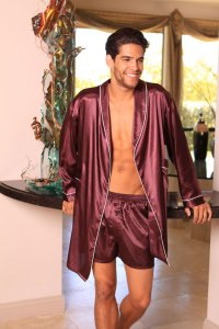 Lovely Day Lingerie Men's Robe and Shorts Burgundy MR1007