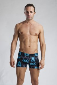 Geronimo Shallow Low Rise Boxer Square Cut Trunk Swimwear Blue Signal 1124B2