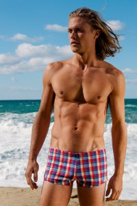 Sauvage Italian Plaid Low Rise Square Cut Trunk Swimwear Plum