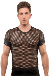 Tartarus Fishnet V Neck Short Sleeved T Shirt Black TRU-227