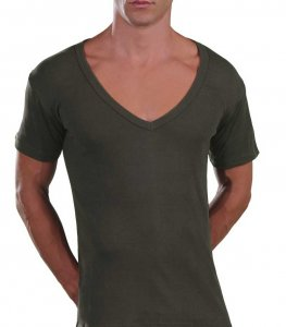 Lord Too Open Deep V Neck Short Sleeved T Shirt Khaki 1231