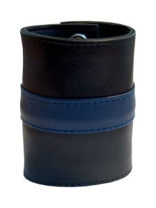 Mister B Leather Stripe Zip Wrist Wallet Black/Blue 411310