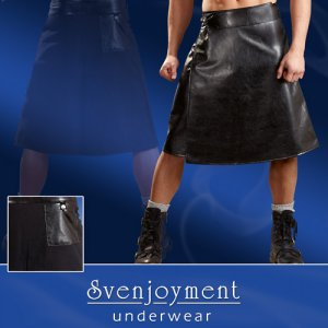 Svenjoyment Leather/Woven Wrap Skirt Costume Black 2140098