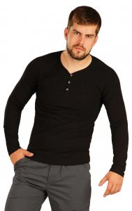 Litex Solid Buttoned Neck Long Sleeved T Shirt Black 51230