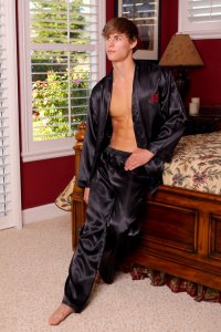 Lovely Day Lingerie Men's Prosperity Robe Long Pant Set Blac...