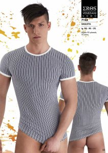 Eros Veneziani Stripe Short Sleeved T Shirt 7122