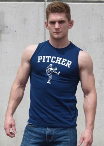 Ajaxx63 Pitcher Athletic Fit Muscle Top T Shirt Navy Blue/White SL06