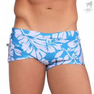 CA-RIO-CA Leaf Traditional Square Cut Trunk Swimwear Blue CRC-S114805