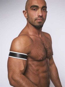 Mister B Leather Biceps Armbands Black/White 431405