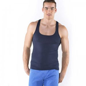 Roberto Lucca Square Neck Tank Top T Shirt Navy Blue 80003-00800