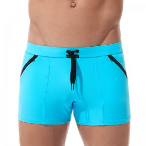 Gregg Homme EXOTIC Square Cut Trunk Swimwear Aqua 161205