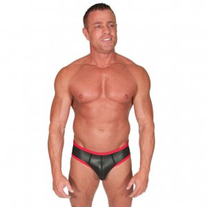 665 Inc. Neoprene Open Back Jock Brief Jock Strap Underwear Black/Red 8099