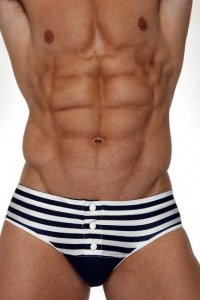 Pistol Pete Mate Snap Brief Bikini Swimwear Navy BF359-249