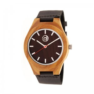 Earth Wood Aztec Leather-Band Watch - Dark Brown ETHEW4102