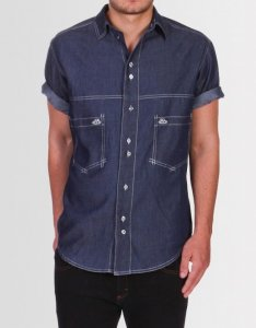 Kear&Ku Drop Pocket Short Sleeved Shirt Denim