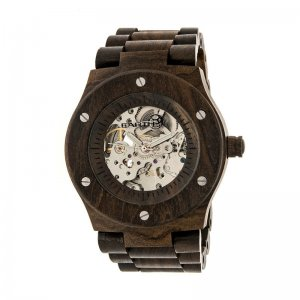 Earth Wood Grand Mesa Automatic Skeleton Bracelet Watch - Dark Brown ETHEW3102