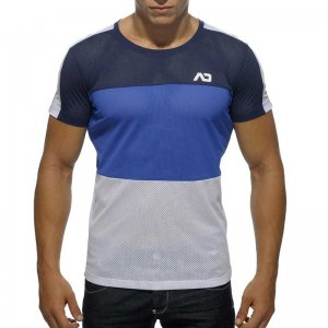 Addicted 3 Colours Mesh Short Sleeved T Shirt Navy/Blue/White AD341