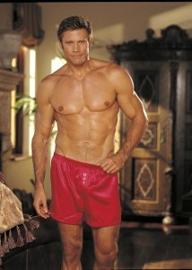 Gyz Heat Transfer Charmeuse Hot Loose Boxer Shorts Red 540