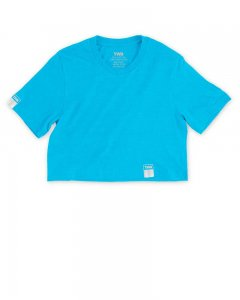 The Well Branded Classix Crop Top Short Sleeved T Shirt Neon Blue