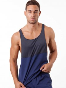 N2N Bodywear Slim Gym Tank Top T Shirt Navy/Charcoal SS1