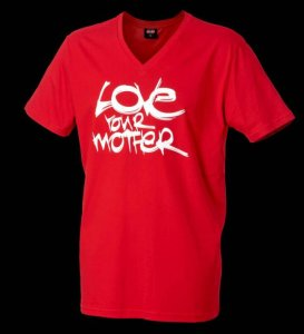 Cock&Balls Love Your Mother V Neck Short Sleeved T Shirt Red 10036