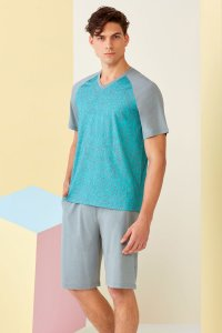 Doreanse Geometric Short Sleeved T Shirt & Shorts Set Lounge...