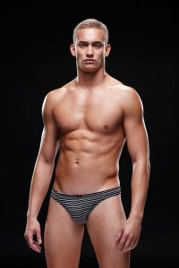Envy Microfiber Thong Underwear Black/White E022