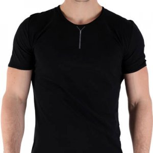 Kale Owen Zipped Short Sleeved T Shirt Black 36500-1014