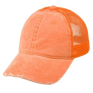 Epoch E Flag Vintage Pigment Dyed Trucker Hat Orange CP033