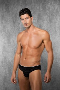 Doreanse Stripe Slip Brief Underwear Black 1387