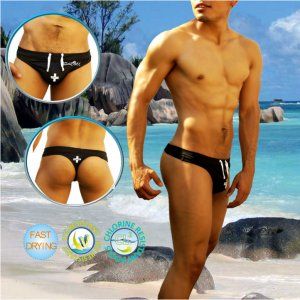 Icker Sea Lifeguard Tanga Thong Swimwear Black COB-14-LTW03