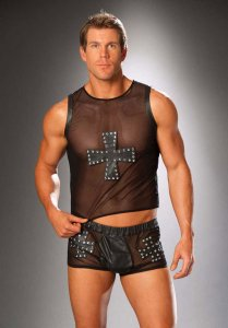 Elegant Moments Cross & Nail Head Leather & Mesh Boxer Brief Underwear Black 9285