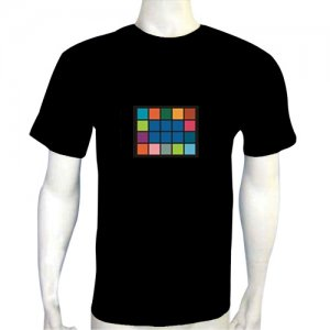 LED Electro Luminescence Rubiks Cube Funny Gadgets Rave Party Disco Light T Shirt 12310