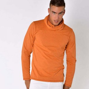 Roberto Lucca Detachable Neck Scarf Long Sleeved T Shirt Orange Melange 70220-11222