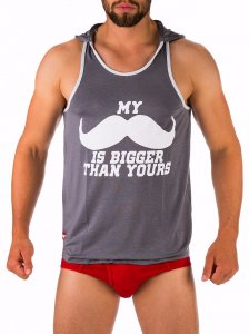 Barcode Berlin Mustache Tank Top T Shirt Grey 91278-700