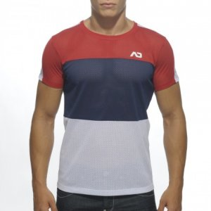 Addicted 3 Colours Mesh Short Sleeved T Shirt Red/White/Navy AD341
