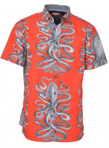 Spazio Cthulhu Short Sleeved Shirt Red/Black 49-S-3563