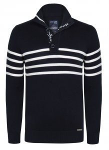 Giorgio Di Mare Jersey Long Sleeved Sweater Navy/White GI5333618