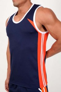 Pistol Pete Contender Muscle Top T Shirt Navy MT123-836