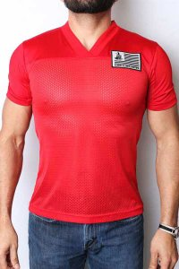 CellBlock 13 Blindside Jersey V Neck Short Sleeved T Shirt Red CBS011