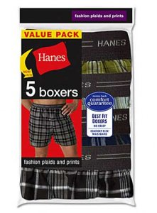 Hanes [5 Pack] Exposed Waistband Plaid Loose Boxer Shorts Underwear Assorted V-MWCBX5