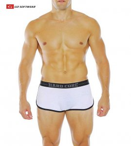 Go Softwear Hard Core Edge Boxer Brief Underwear White/Black 4174