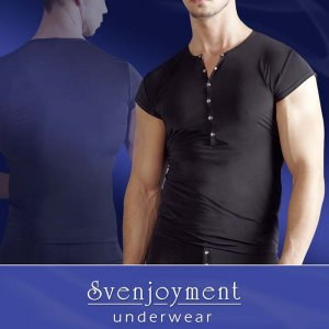 Svenjoyment Henley Cropped Sleeves Short Sleeved T Shirt Black 2160676