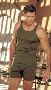 Gyz Silk Knit Tank Top T Shirt Moss Green 30028