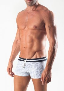 Geronimo Square Cut Trunk Swimwear White 1515B1-2