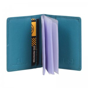 Zoomlite Boston Leather RFID Card Holder With Inserts Wallet Turquoise