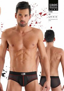Eros Veneziani Contrast Stitching Stripe & Opaque Pouch Sheer Slip Brief Underwear Black/Red 7190
