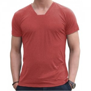 Blunt Neck Basic Short Sleeved T Shirt Brick B-M-T-SS-BR