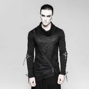 Punk Rave Tangled Mind Layered Mesh Lace Up 2 in 1 T Shirt B...