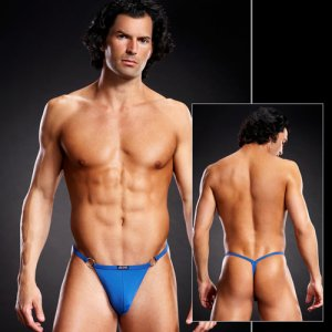 Blue Line Performance Metal Ring Microfiber G String Underwear Royal Blue BLM027